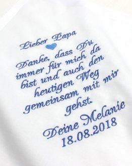 Besticktes Stofftaschentuch zur Hochzeit als Geschenk für den Vater der Braut