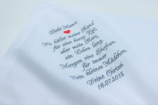 Besticktes Taschentuch für die Brautmutter