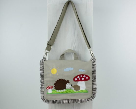 Kindergartentasche, Umhängetasche, Motiv Igel und Fliegenpilz