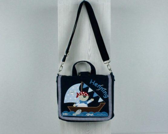 Kindergartentasche mit Namen bestick Navy Pirat