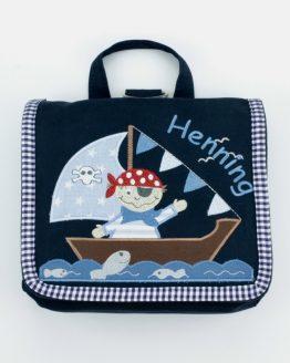 Bestickte Kindergartentasche mit Namen, Farbe Dunkelblau, Modell Pirat