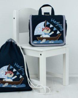 Set Kindergartentasche und Turnbeutel in Dunkelblau mit Motiv Pirat