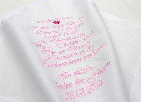 Besticktes Taschentuch zur Hochzeit als Geschenk für das Blumenmädchen oder Blumenkind