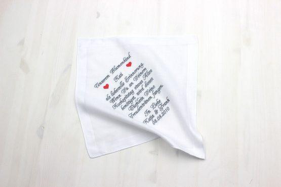 Besticktes Taschentuch zur Hochzeit für das Blumenmädchen oder Blumenkind