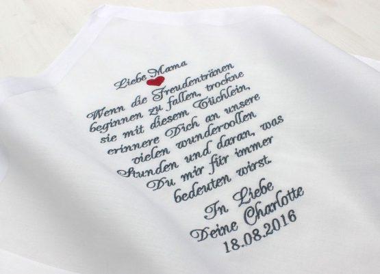 Besticktes Taschentuch zur Hochzeit, Brautmutter, Brautvater, Bräutigammutter, Bräutigamvater, Oma, Opa oder einen anderen lieben Menschen