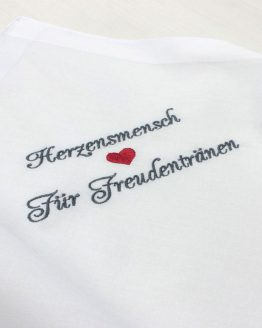 Besticktes Stofftaschentuch zur Hochzeit für Freudentränen, Herzensmensch