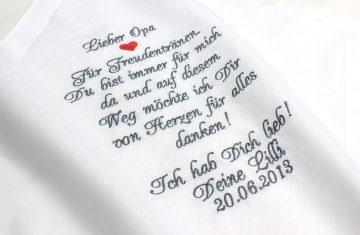 Besticktes Taschentuch zur Hochzeit als Geschenk für die Großeltern