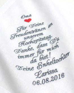 Besticktes Taschentuch zur Hochzeit für die Oma oder den Opa der Braut