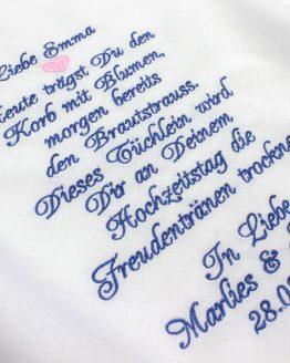 Besticktes Taschentuch zur Hochzeit für das Blumenkind oder Blumenmädchen