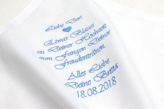 """Besticktes Taschentuch für die Braut zur Hochzeit """"Etwas Blaues"""""""