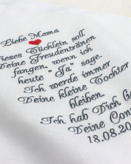 Besticktes Stofftaschentuch zur Hochzeit für den Brautvater oder die Brautmutter für Freudentränen
