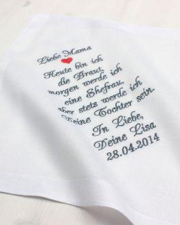 Besticktes Taschentuch zur Hochzeit für die Brautmutter oder den Brautvater zum Fangen der Freudentränen