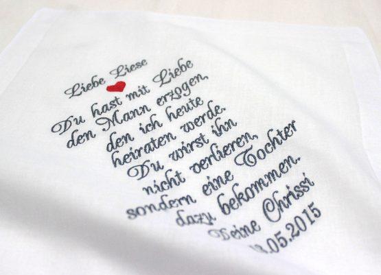 Besticktes Taschentuch zur Hochzeit für die Schwiegermutter der Braut