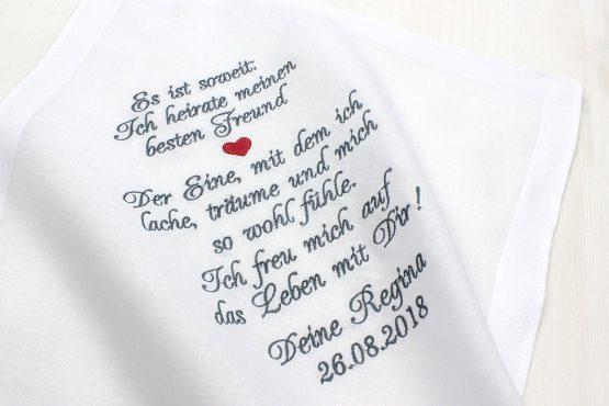 Besticktes Stofftaschentuch zur Hochzeit für die Freudentränen des Bräutigams