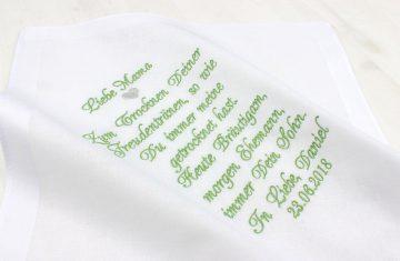 Besticktes Taschentuch Bräutigammutter oder Bräutigamvater
