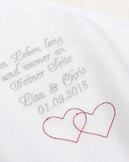Besticktes Taschentuch zur Hochzeit für Freudentränen von Braut und Bräutigam