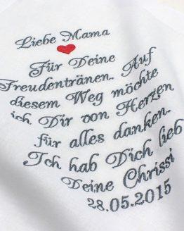 Besticktes Stofftaschentuch zur Hochzeit für die Brautmutter, den Brautvater, die Bräutigammutter, den Bräutigamvater oder einen anderen lieben Menschen den Sie beschenken möchten, für Freudentränen