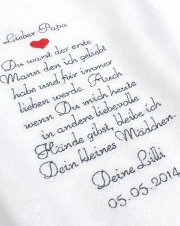 Besticktes Taschentuch zur Hochzeit für den Vater der Braut