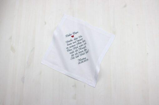 Besticktes Taschentuch für zur Hochzeit für den Brautpapa oder die Brautmama für Freudentränen, Taschentuch zur Hochzeit, Taschentuch Freudentränen