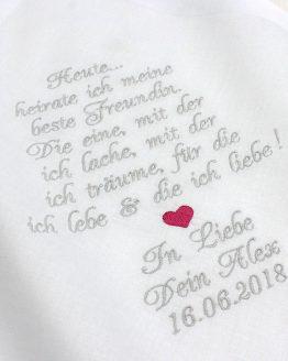 Besticktes Taschentuch zur Hochzeit für die Freudentränen der Braut