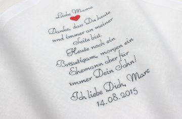 Besticktes Taschentuch für Freudentränen zur Hochzeit für die Mutter oder den Vater des Bräutigams