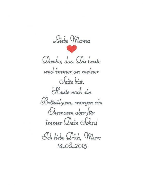 Besticktes Stofftaschentuch Mutter des Bräutigams oder Vater des Bräutigams