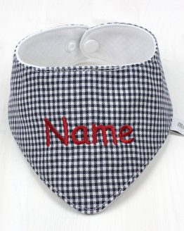 Geschenk zur Taufe oder Geschenk zur Geburt, Halstuch mit Namen bestickt, Westfalenstoff, dunkelblau weiß kariert, Vichy