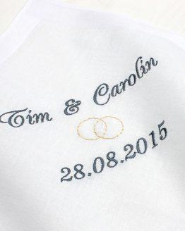 Besticktes Taschentuch für Braut und Bräutigam für Freudentränen