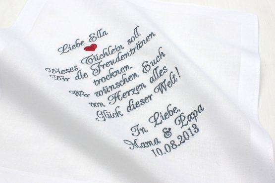 Besticktes Taschentuch für Braut und Bräutigam von den Eltern