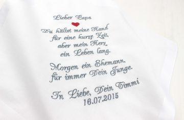 Taschentuch für Freudentränen Papa des Bräutigams oder Mama des Bräutigams