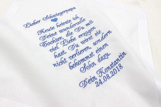 Gastgeschenk Hochzeit, besticktes Taschentuch Hochzeit für die Schwiegermama oder den Schwiegerpapa des Bräutigams