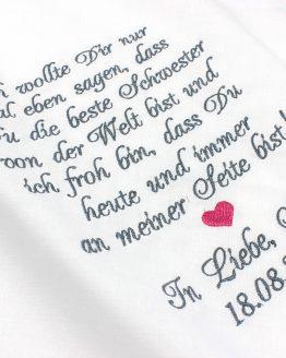Besticktes Taschentuch zur Hochzeit für die Schwester der Braut, Gastgeschenk Hochzeit, Taschentuch Freudentränen