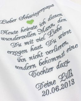Gastgeschenk Schwiegervater, Stofftaschentuch bestickt zur Hochzeit für Freudentränen