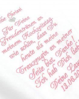 Taschentuch Hochzeit bestickt, Gastgeschenk Hochzeit Trauzeugin, Taschentuch Freudentränen
