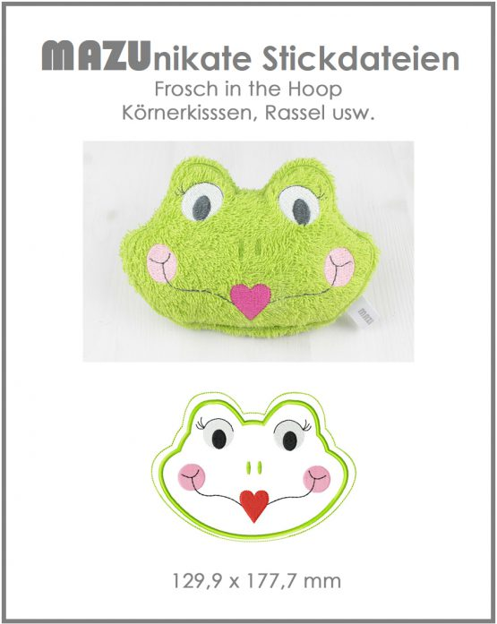 Stickdatei Frosch in the hoop (ITH)
