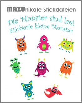 Stickserie kleine Monster, Stickserie die Monster sind los, Stickdatei Monster, Stickdatei Alien