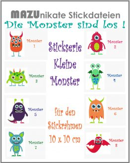 Stickserie Kleine Monster, Stickdatei Monster, Stickdatei Alien, die Monster sind los