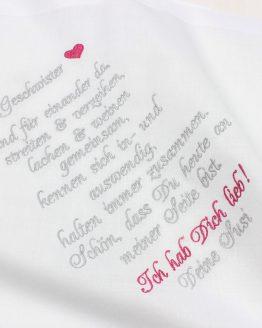 besticktes Taschentuch zur Hochzeit für Bruder oder Schwester, Gastgeschenk Hochzeit, Taschentuch Freudentränen