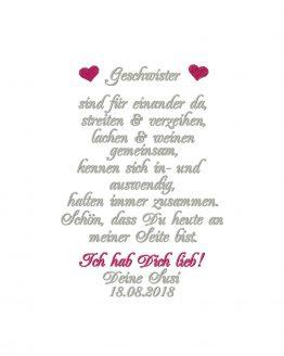 Gastgeschenk Hochzeit für Schwester oder Bruder, besticktes Taschentuch für Geschwister, Taschentuch Freudentränen