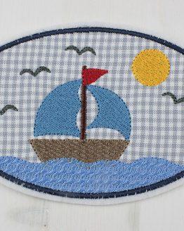 Aufnäher, Bügelbild, Applikation, Flicken zum Aufbügeln Segelboot, Segelschiff, Boot, Schiff