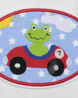 Bügelbild Frosch, Frosch im Auto, Applikation, Aufbügler, Flicken