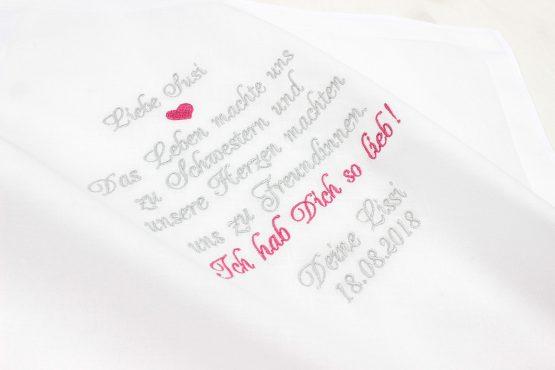 Taschentuch Hochzeit bestickt, Gastgeschenk Hochzeit, besticktes Taschentuch für die Schwester der Braut