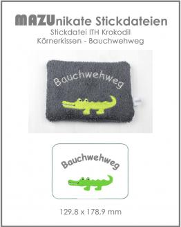 ITH Stickdatei Krokodil Körnerkissen Wärmekissen, Bauchwehweg
