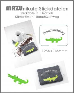 ITH Stickdatei Krokodil in the Hoop Körnerkissen Wärmekissen, Bauchwehweg
