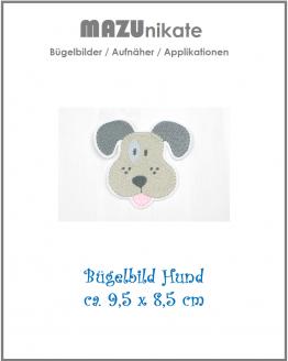 Bügelbild Hund, Applikation, Aufbügler, Aufnäher, Flicken