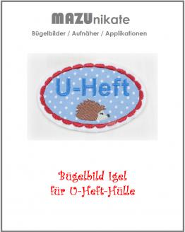 Besticktes Schild mit Igel zum Verzieren für eine U-Heft-Hülle