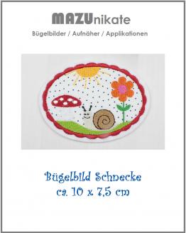 Bügelbild Schnecke, Fliegenpilz, Blume, Sonne, Aufnäher, Aufbügler Applikation, Flicken