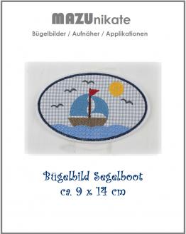 Bügelbild Schiff, Bügelbild Boot, Bügelbild Segelschiff, Bügelbild Segelboot, Aufnäher, Flicken, Applikation
