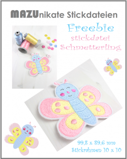 Freebie Schmetterling Stickdatei