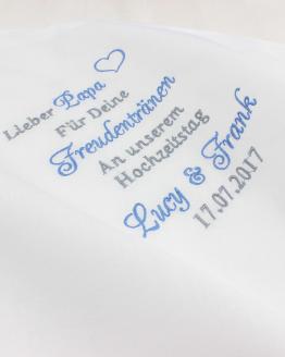 Besticktes Taschentuch zur Hochzeit Brautpapa